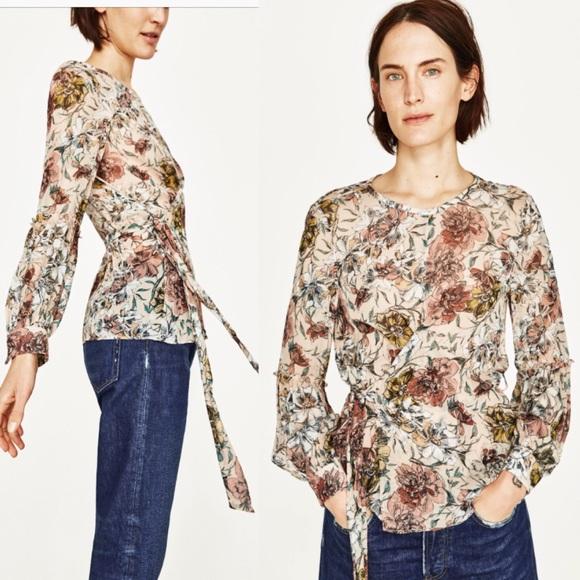 cf45e7df3 Zara Floral Long Sleeve Sheer Top. M_5a3c6ab46bf5a6c5ca006031